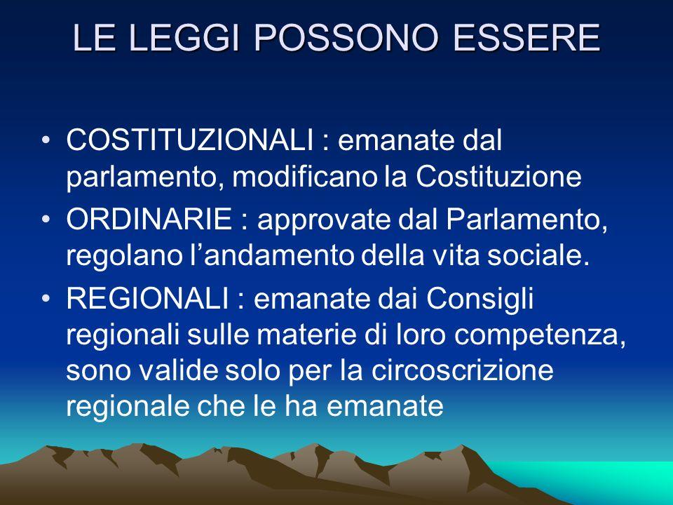 LE LEGGI POSSONO ESSERE COSTITUZIONALI : emanate dal parlamento, modificano la Costituzione ORDINARIE : approvate dal Parlamento, regolano landamento