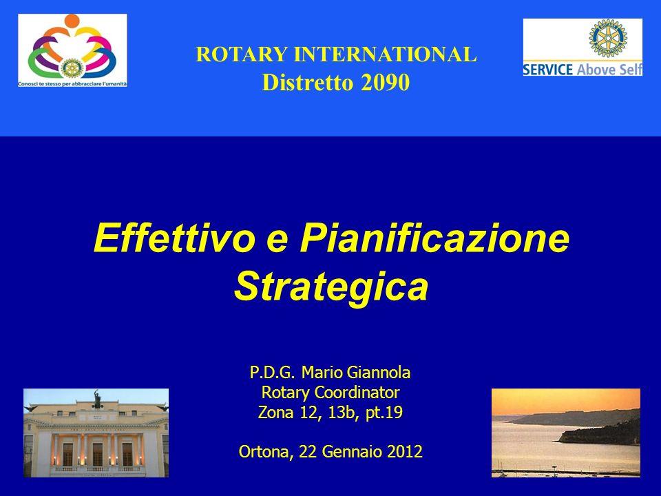 1 Effettivo e Pianificazione Strategica P.D.G. Mario Giannola Rotary Coordinator Zona 12, 13b, pt.19 Ortona, 22 Gennaio 2012 ROTARY INTERNATIONAL Dist