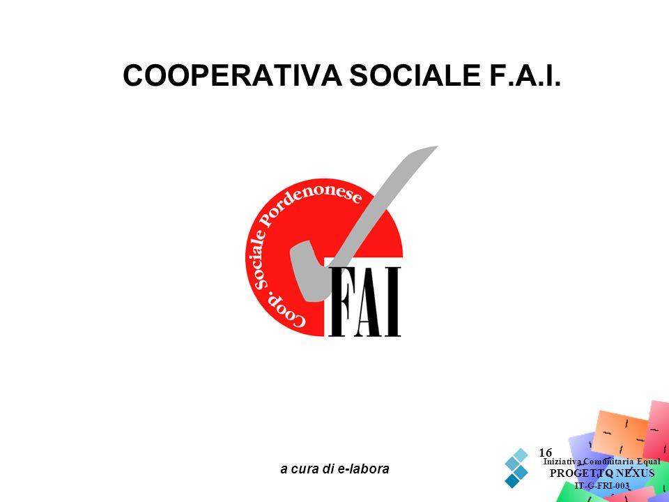 a cura di e-labora 16 COOPERATIVA SOCIALE F.A.I. Iniziativa Comunitaria Equal PROGETTO NEXUS IT-G-FRI-003