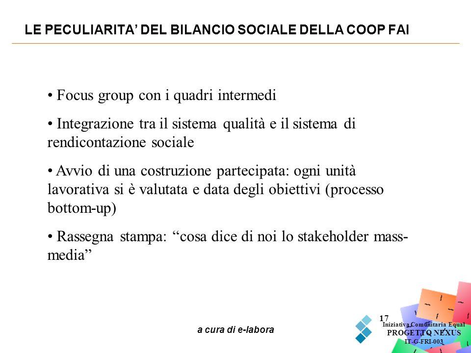 a cura di e-labora 17 LE PECULIARITA DEL BILANCIO SOCIALE DELLA COOP FAI Iniziativa Comunitaria Equal PROGETTO NEXUS IT-G-FRI-003 Focus group con i qu