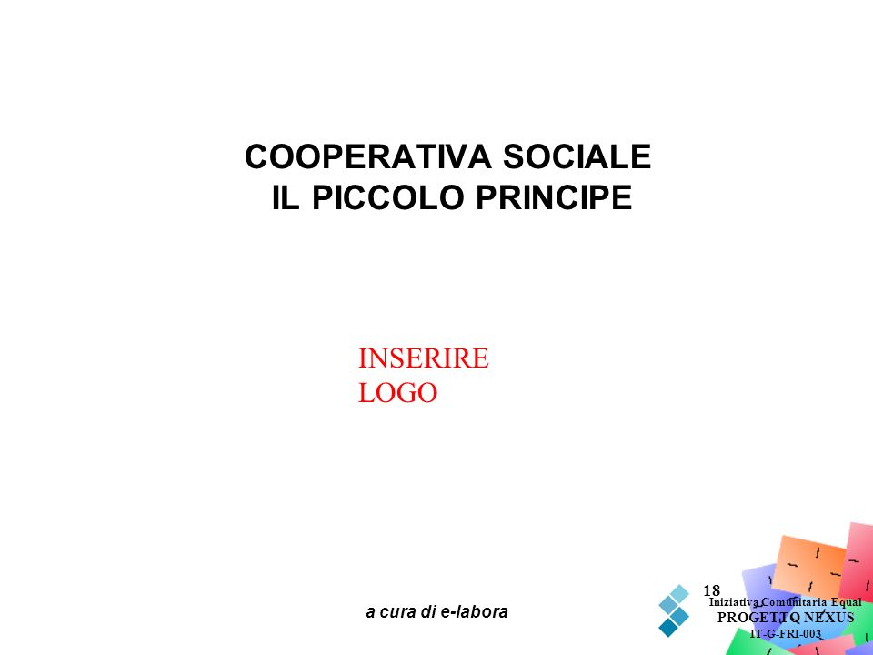 a cura di e-labora 18 COOPERATIVA SOCIALE IL PICCOLO PRINCIPE Iniziativa Comunitaria Equal PROGETTO NEXUS IT-G-FRI-003 INSERIRE LOGO