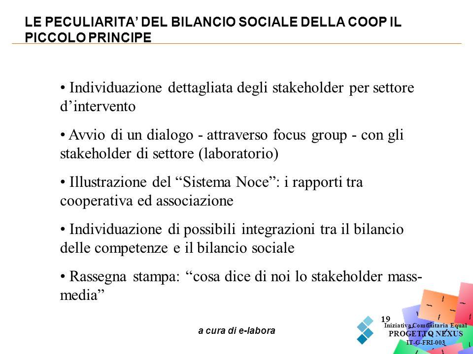 a cura di e-labora 19 LE PECULIARITA DEL BILANCIO SOCIALE DELLA COOP IL PICCOLO PRINCIPE Iniziativa Comunitaria Equal PROGETTO NEXUS IT-G-FRI-003 Indi