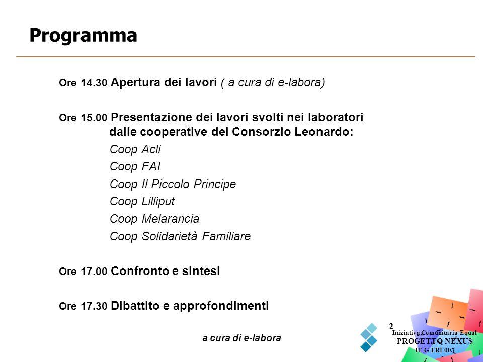 a cura di e-labora 2 Programma Iniziativa Comunitaria Equal PROGETTO NEXUS IT-G-FRI-003 Ore 14.30 Apertura dei lavori ( a cura di e-labora) Ore 15.00