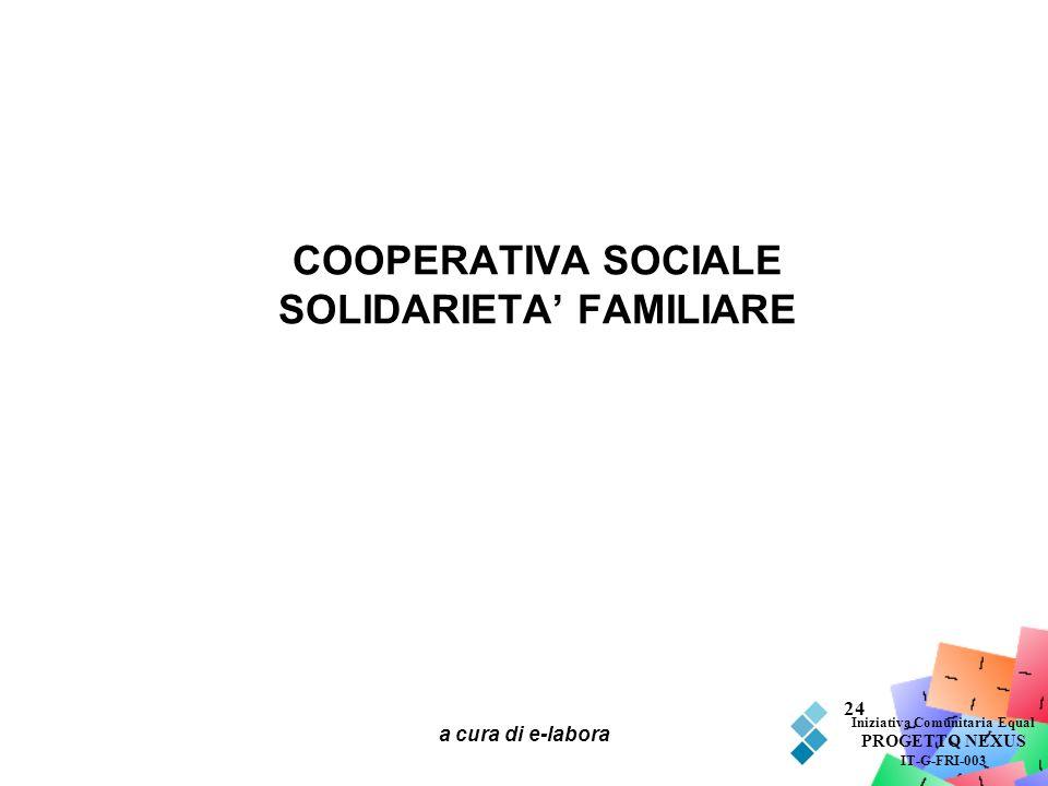 a cura di e-labora 24 COOPERATIVA SOCIALE SOLIDARIETA FAMILIARE Iniziativa Comunitaria Equal PROGETTO NEXUS IT-G-FRI-003