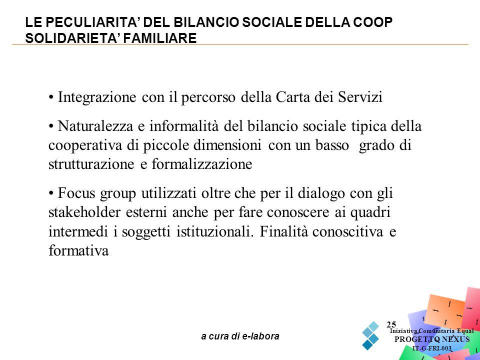 a cura di e-labora 25 LE PECULIARITA DEL BILANCIO SOCIALE DELLA COOP SOLIDARIETA FAMILIARE Iniziativa Comunitaria Equal PROGETTO NEXUS IT-G-FRI-003 In