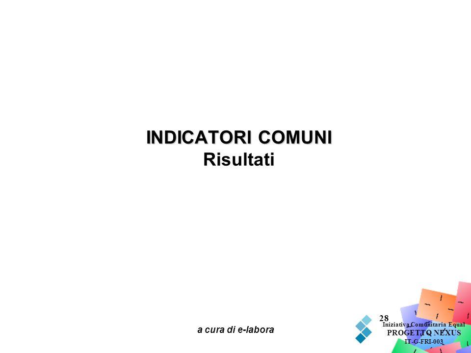 a cura di e-labora 28 INDICATORI COMUNI INDICATORI COMUNI Risultati Iniziativa Comunitaria Equal PROGETTO NEXUS IT-G-FRI-003
