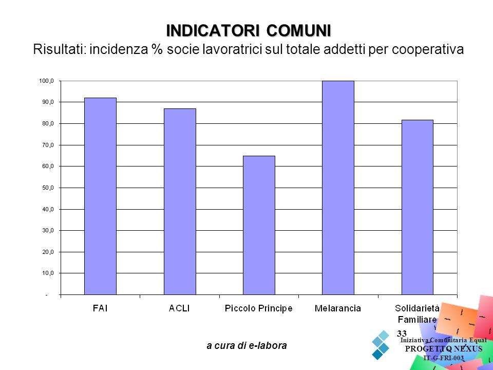 a cura di e-labora 33 INDICATORI COMUNI INDICATORI COMUNI Risultati: incidenza % socie lavoratrici sul totale addetti per cooperativa Iniziativa Comun