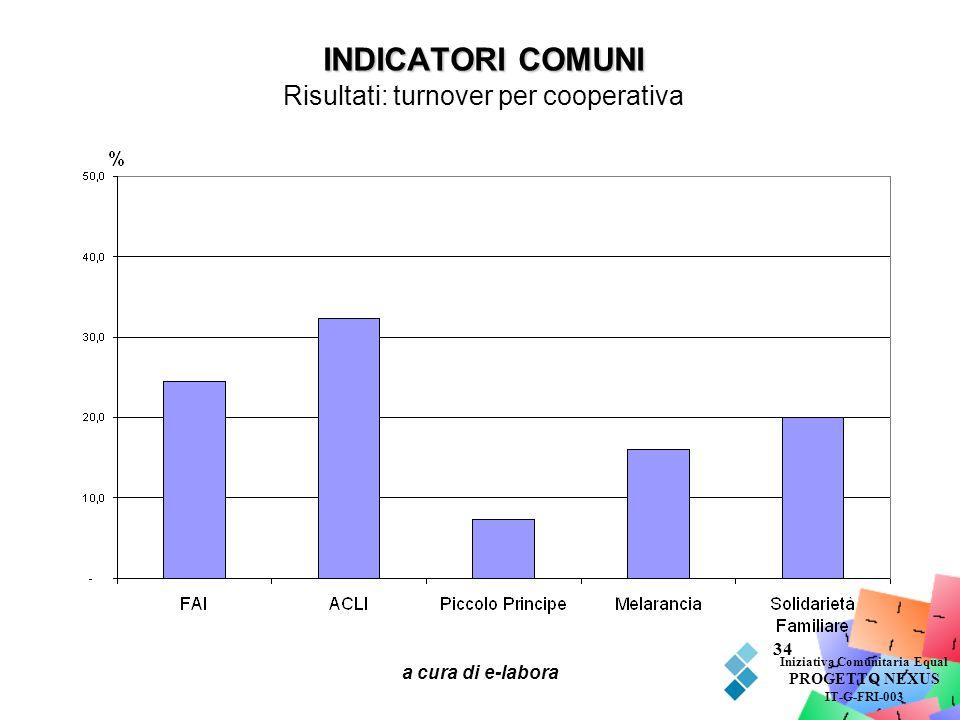 a cura di e-labora 34 INDICATORI COMUNI INDICATORI COMUNI Risultati: turnover per cooperativa Iniziativa Comunitaria Equal PROGETTO NEXUS IT-G-FRI-003