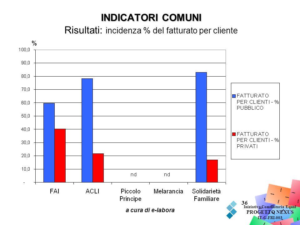 a cura di e-labora 36 INDICATORI COMUNI INDICATORI COMUNI Risultati: incidenza % del fatturato per cliente Iniziativa Comunitaria Equal PROGETTO NEXUS