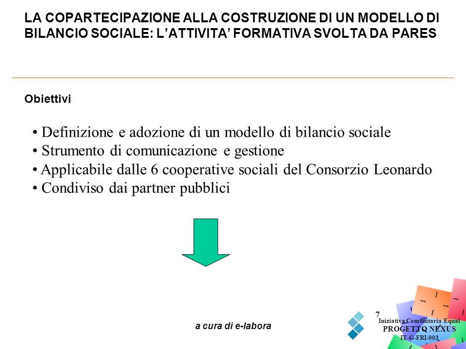 a cura di e-labora 7 LA COPARTECIPAZIONE ALLA COSTRUZIONE DI UN MODELLO DI BILANCIO SOCIALE: LATTIVITA FORMATIVA SVOLTA DA PARES Iniziativa Comunitari