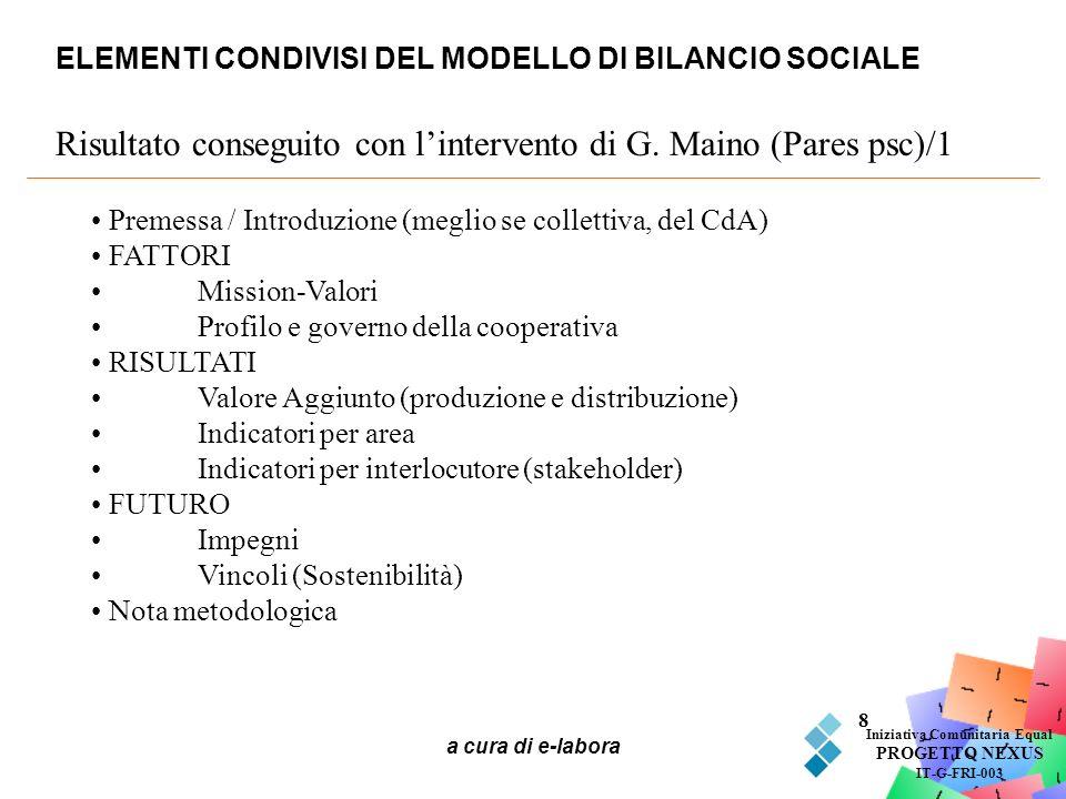 a cura di e-labora 8 ELEMENTI CONDIVISI DEL MODELLO DI BILANCIO SOCIALE Iniziativa Comunitaria Equal PROGETTO NEXUS IT-G-FRI-003 Risultato conseguito
