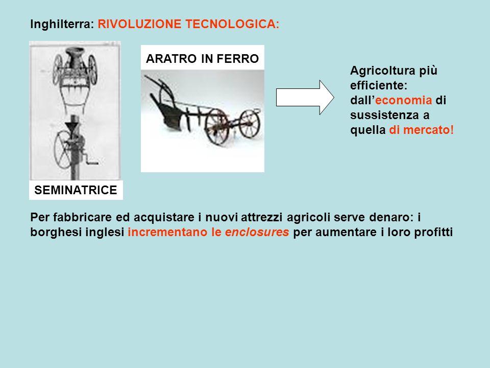 Inghilterra: RIVOLUZIONE TECNOLOGICA: SEMINATRICE ARATRO IN FERRO Agricoltura più efficiente: dalleconomia di sussistenza a quella di mercato! Per fab