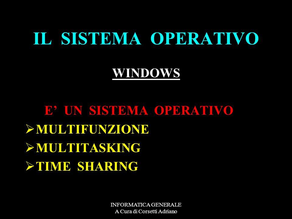 INFORMATICA GENERALE A Cura di Corsetti Adriano IL SISTEMA OPERATIVO WINDOWS WINDOWS 98 WINDOWS 2000 WINDOWS XP WINDOWS VISTA