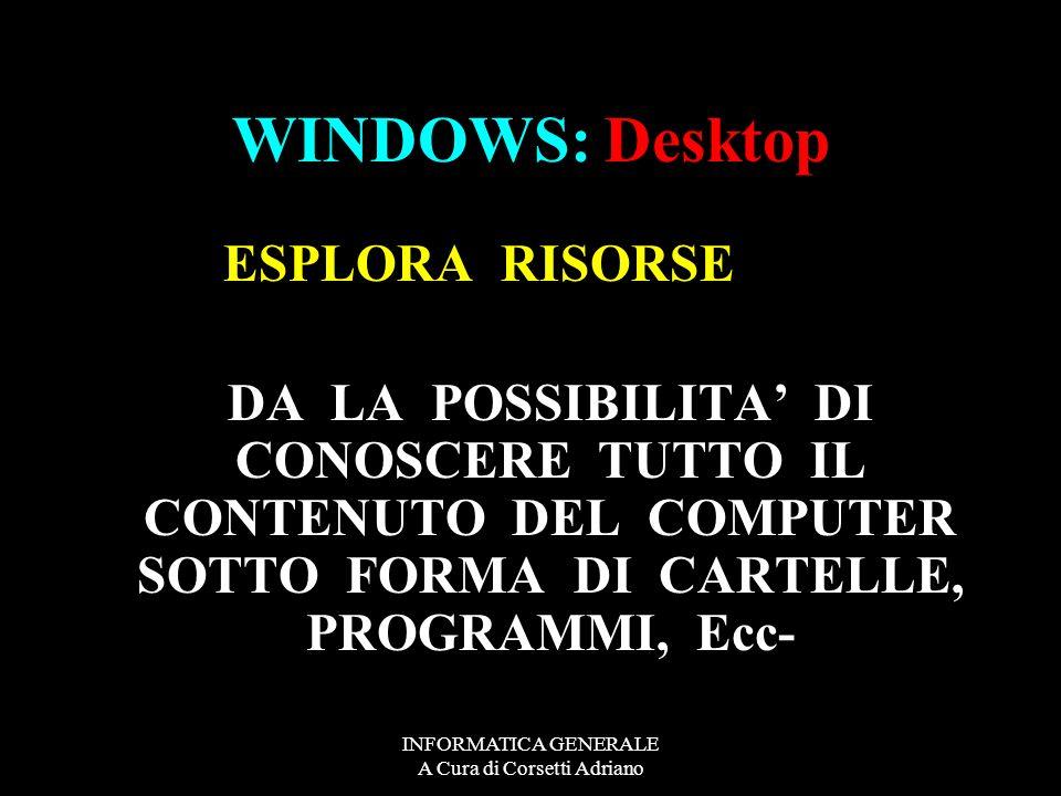 INFORMATICA GENERALE A Cura di Corsetti Adriano WINDOWS: Desktop RISORSE DEL COMPUTER Floppy Disk Disco locale © C.D.ROM Disco rimovibile Unità aggiun