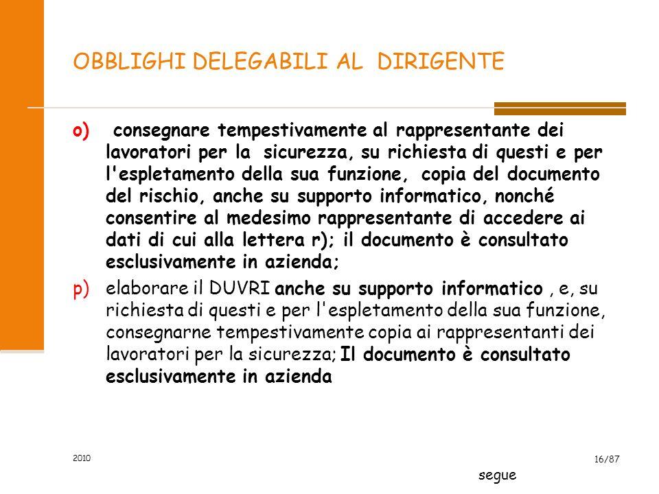 2010 15/87 OBBLIGHI DELEGABILI AL DIRIGENTE h. adottare le misure per il controllo delle situazioni di rischio in caso di emergenza e dare istruzioni