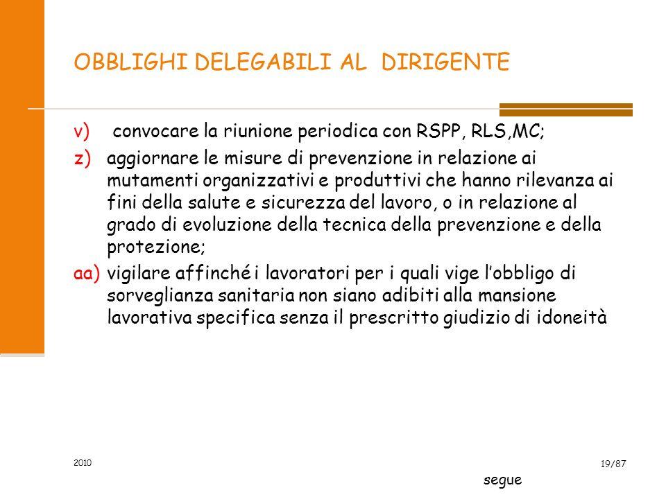 2010 18/87 OBBLIGHI DELEGABILI AL DIRIGENTE s)adottare le misure necessarie ai fini della prevenzione incendi e dellevacuazione dei luoghi di lavoro,