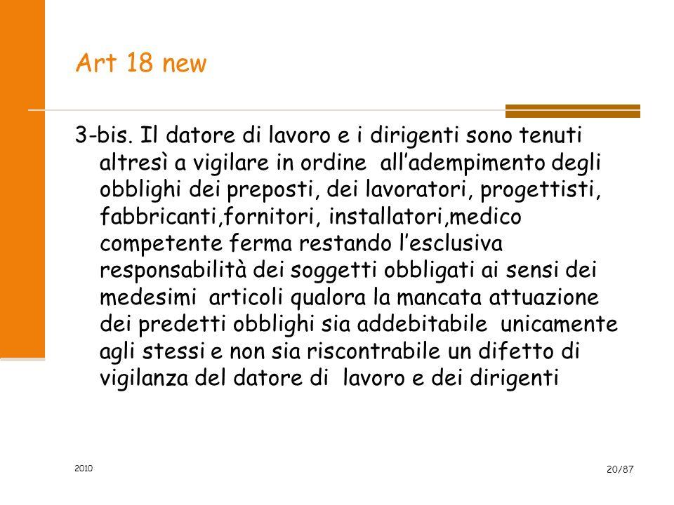 2010 19/87 OBBLIGHI DELEGABILI AL DIRIGENTE v) convocare la riunione periodica con RSPP, RLS,MC; z)aggiornare le misure di prevenzione in relazione ai