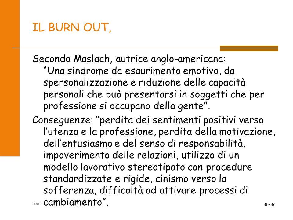 SINDROMI DELLO STRESS il burn out, lo stress negativo il mobbing la sindrome corridoio 2010 44/46