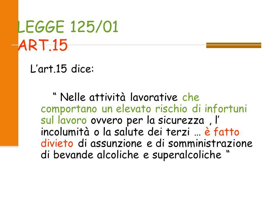 LEGGE 125/01 E LA LEGGE QUADRO in MATERIA DI ALCOL E DI PROBLEMI ALCOL CORRELATI, per la TUTELA della SALUTE e della SICUREZZA dell INDIVIDUO e per la