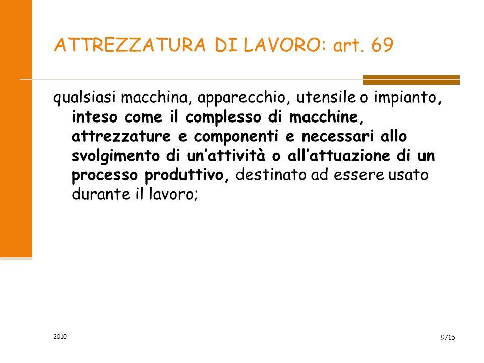 2010 8/87 DEFINIZIONI - (Art. 2) LAVORATORE Equiparati a lavoratori: - Utenti dei serv. di orientam. o di formaz. scolastica, universit., prof.le avvi