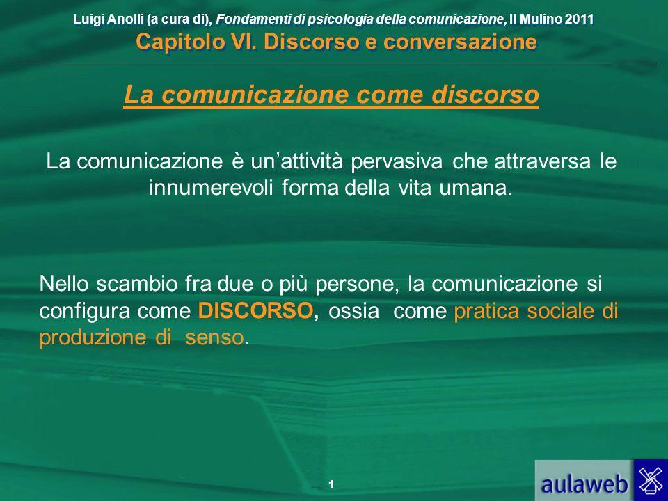 Luigi Anolli (a cura di), Fondamenti di psicologia della comunicazione, Il Mulino 2011 Capitolo VI. Discorso e conversazione 1 La comunicazione come d