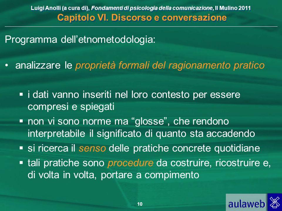 Luigi Anolli (a cura di), Fondamenti di psicologia della comunicazione, Il Mulino 2011 Capitolo VI. Discorso e conversazione 10 Programma delletnometo