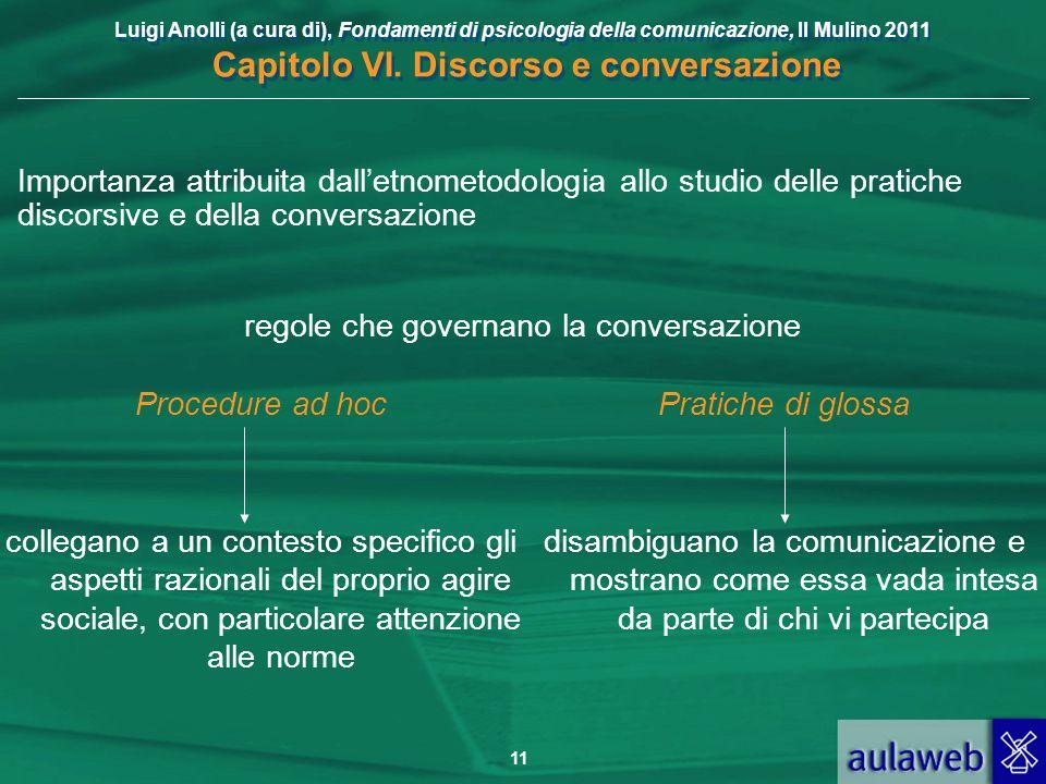 Luigi Anolli (a cura di), Fondamenti di psicologia della comunicazione, Il Mulino 2011 Capitolo VI. Discorso e conversazione 11 Importanza attribuita