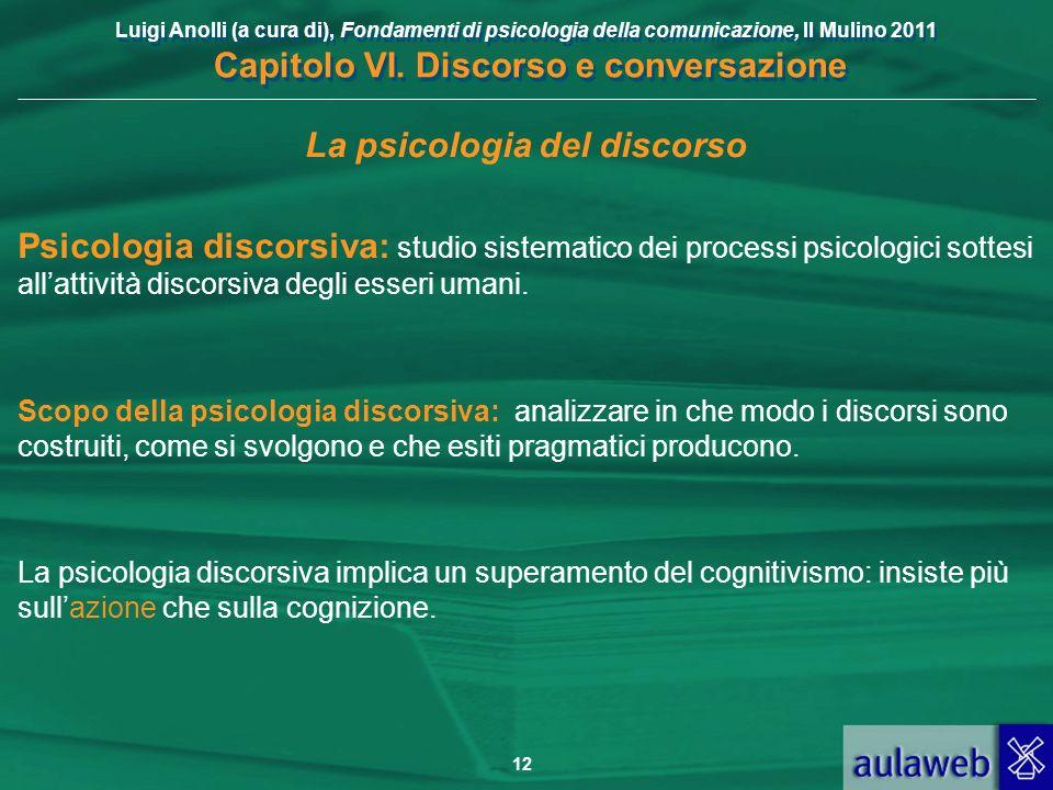 Luigi Anolli (a cura di), Fondamenti di psicologia della comunicazione, Il Mulino 2011 Capitolo VI. Discorso e conversazione 12 La psicologia del disc