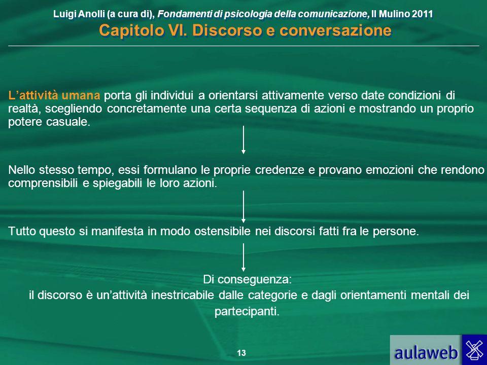 Luigi Anolli (a cura di), Fondamenti di psicologia della comunicazione, Il Mulino 2011 Capitolo VI. Discorso e conversazione 13 Lattività umana porta