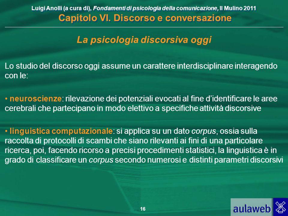 Luigi Anolli (a cura di), Fondamenti di psicologia della comunicazione, Il Mulino 2011 Capitolo VI. Discorso e conversazione 16 La psicologia discorsi
