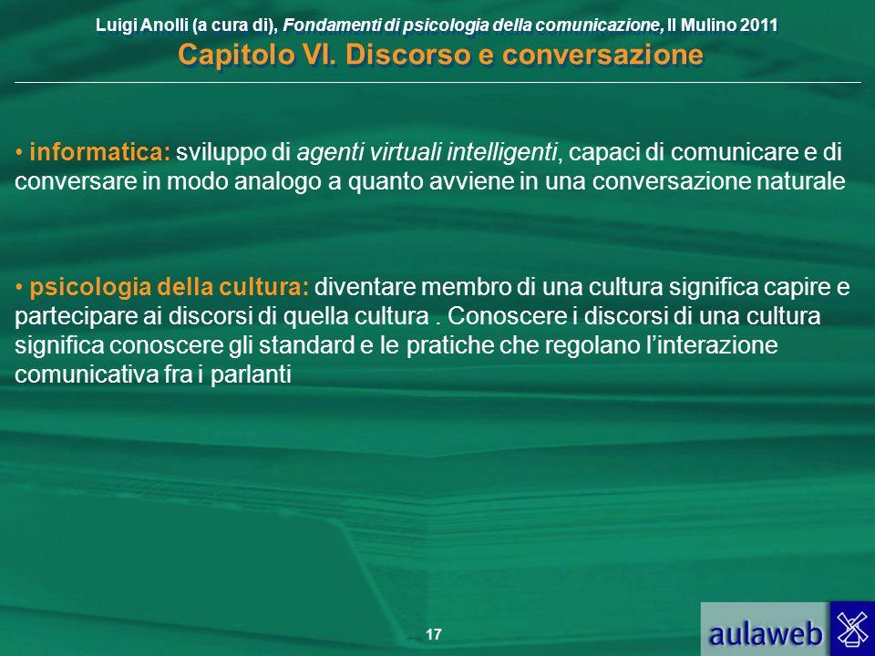 Luigi Anolli (a cura di), Fondamenti di psicologia della comunicazione, Il Mulino 2011 Capitolo VI. Discorso e conversazione 17 informatica: sviluppo