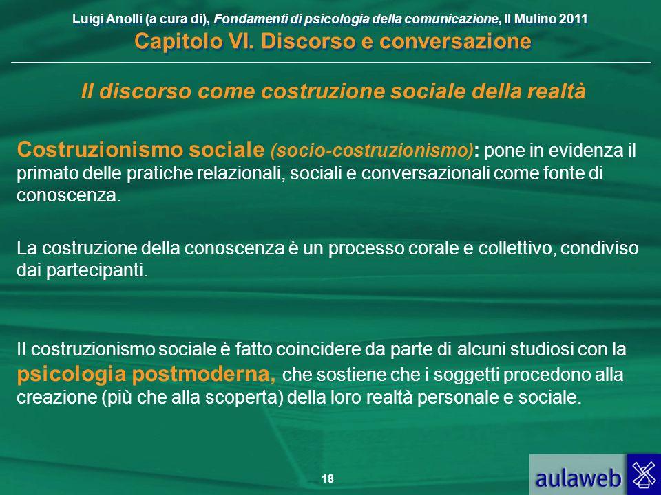 Luigi Anolli (a cura di), Fondamenti di psicologia della comunicazione, Il Mulino 2011 Capitolo VI. Discorso e conversazione 18 Il discorso come costr