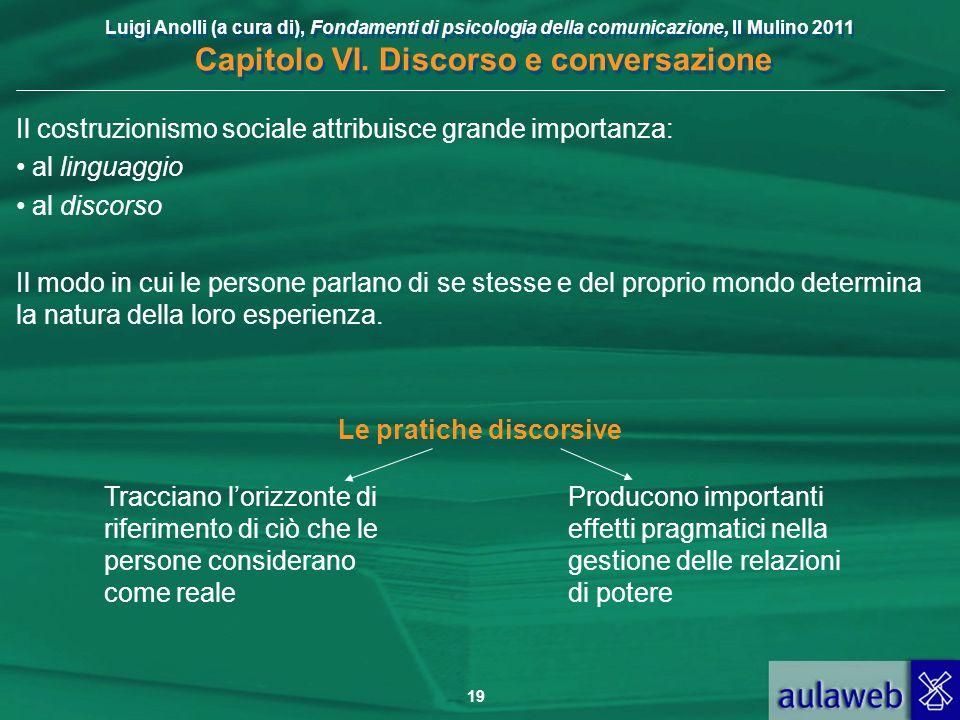 Luigi Anolli (a cura di), Fondamenti di psicologia della comunicazione, Il Mulino 2011 Capitolo VI. Discorso e conversazione 19 Il costruzionismo soci