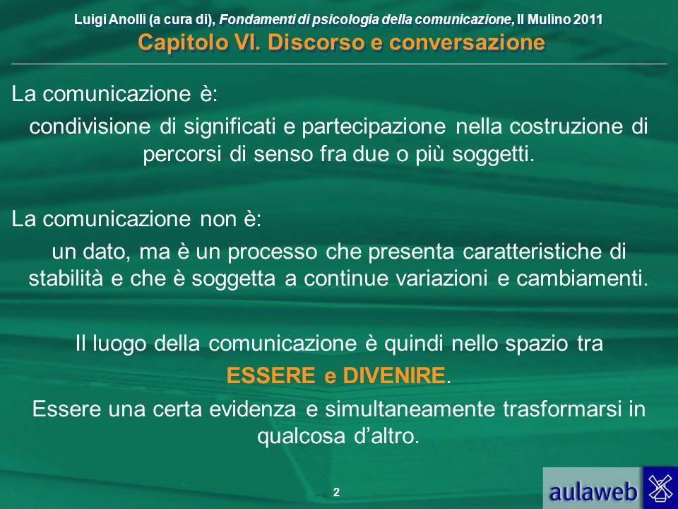 Luigi Anolli (a cura di), Fondamenti di psicologia della comunicazione, Il Mulino 2011 Capitolo VI. Discorso e conversazione 2 La comunicazione è: con