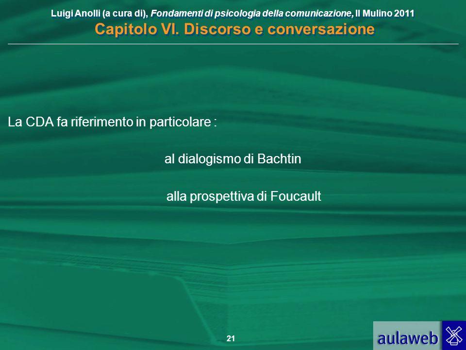 Luigi Anolli (a cura di), Fondamenti di psicologia della comunicazione, Il Mulino 2011 Capitolo VI. Discorso e conversazione 21 La CDA fa riferimento