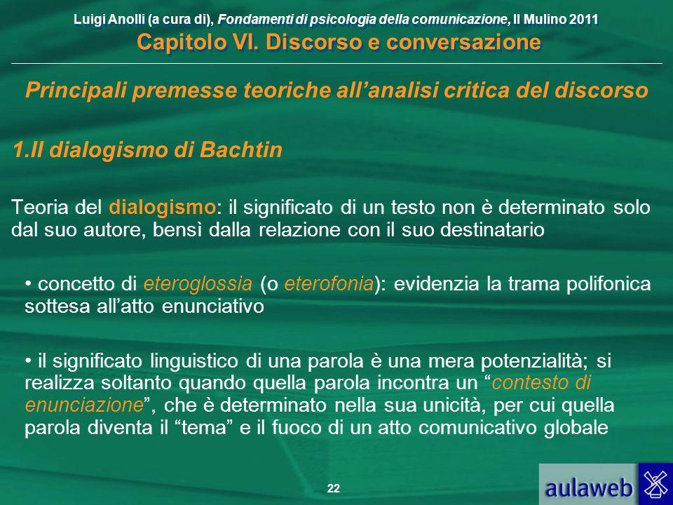 Luigi Anolli (a cura di), Fondamenti di psicologia della comunicazione, Il Mulino 2011 Capitolo VI. Discorso e conversazione 22 Principali premesse te