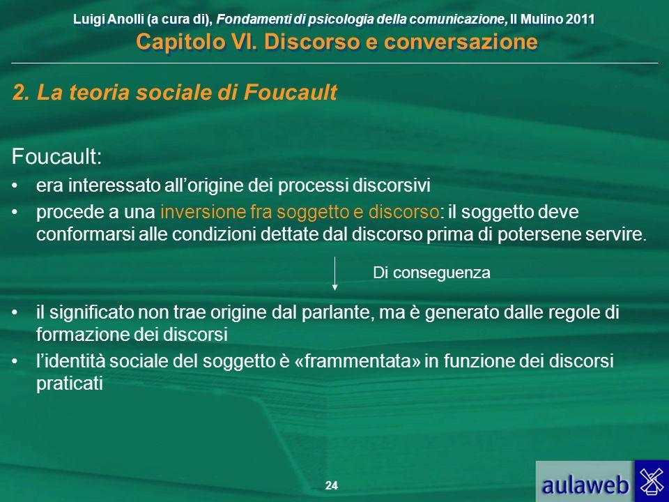 Luigi Anolli (a cura di), Fondamenti di psicologia della comunicazione, Il Mulino 2011 Capitolo VI. Discorso e conversazione 24 2.La teoria sociale di