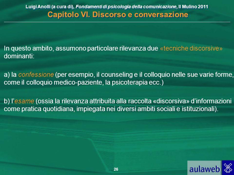 Luigi Anolli (a cura di), Fondamenti di psicologia della comunicazione, Il Mulino 2011 Capitolo VI. Discorso e conversazione 26 In questo ambito, assu