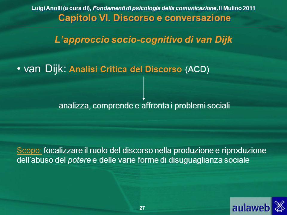 Luigi Anolli (a cura di), Fondamenti di psicologia della comunicazione, Il Mulino 2011 Capitolo VI. Discorso e conversazione 27 Lapproccio socio-cogni