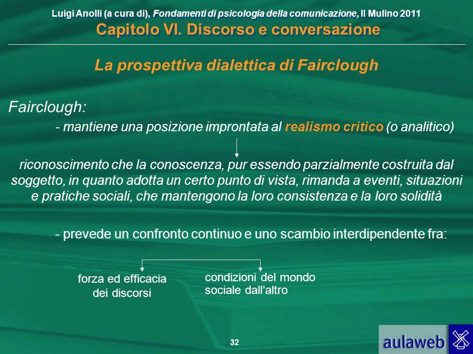 Luigi Anolli (a cura di), Fondamenti di psicologia della comunicazione, Il Mulino 2011 Capitolo VI. Discorso e conversazione 32 La prospettiva dialett