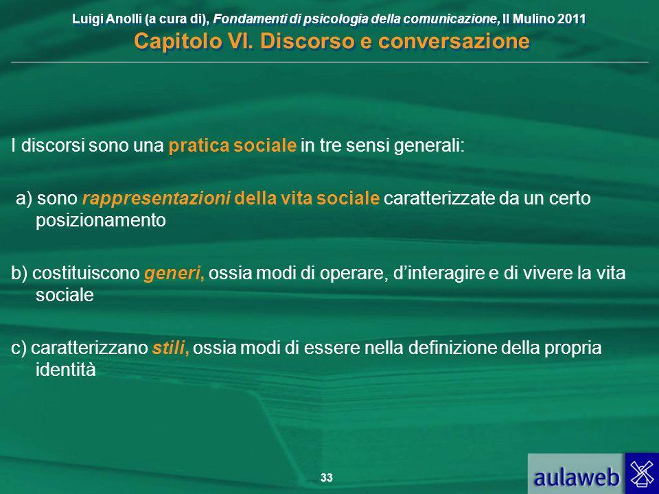 Luigi Anolli (a cura di), Fondamenti di psicologia della comunicazione, Il Mulino 2011 Capitolo VI. Discorso e conversazione 33 I discorsi sono una pr