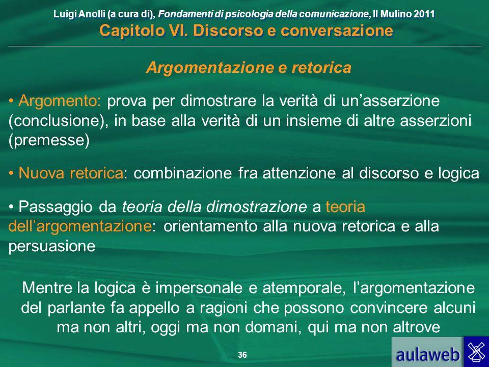 Luigi Anolli (a cura di), Fondamenti di psicologia della comunicazione, Il Mulino 2011 Capitolo VI. Discorso e conversazione 36 Argomentazione e retor
