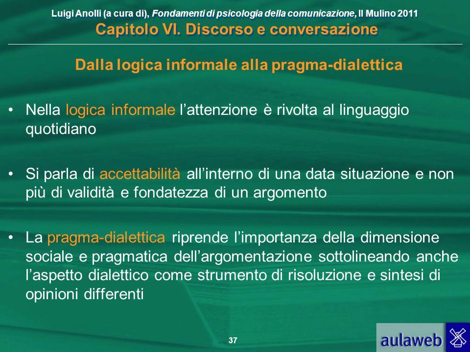 Luigi Anolli (a cura di), Fondamenti di psicologia della comunicazione, Il Mulino 2011 Capitolo VI. Discorso e conversazione 37 Dalla logica informale