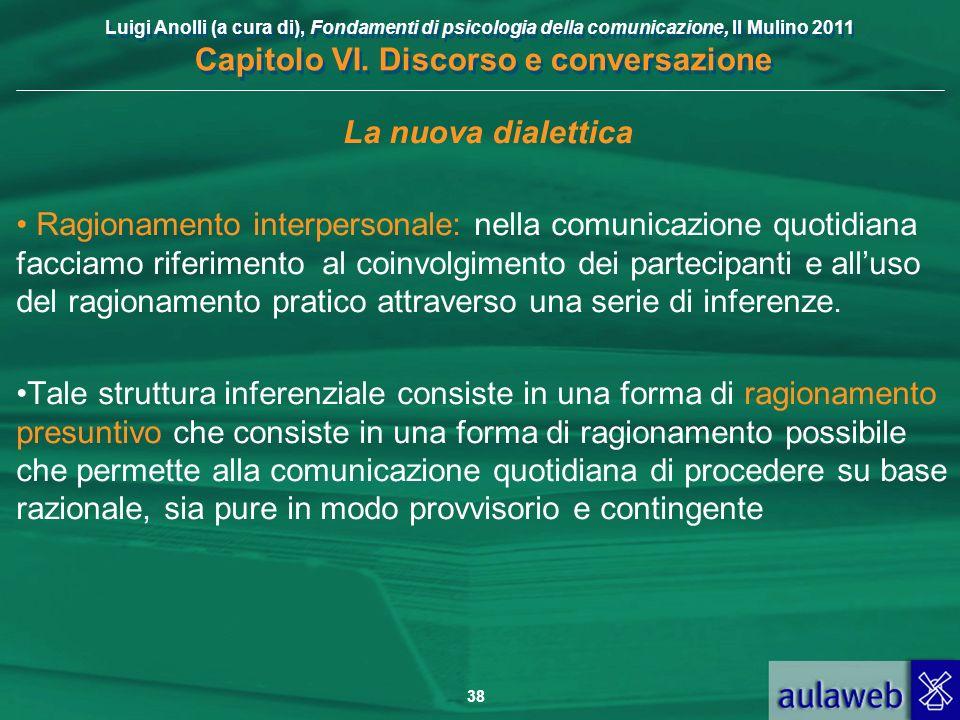 Luigi Anolli (a cura di), Fondamenti di psicologia della comunicazione, Il Mulino 2011 Capitolo VI. Discorso e conversazione 38 La nuova dialettica Ra