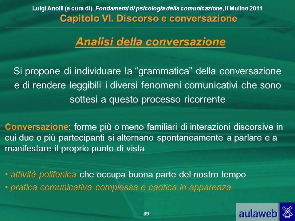 Luigi Anolli (a cura di), Fondamenti di psicologia della comunicazione, Il Mulino 2011 Capitolo VI. Discorso e conversazione 39 Analisi della conversa