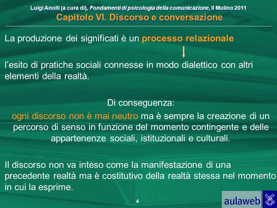 Luigi Anolli (a cura di), Fondamenti di psicologia della comunicazione, Il Mulino 2011 Capitolo VI. Discorso e conversazione 4 La produzione dei signi