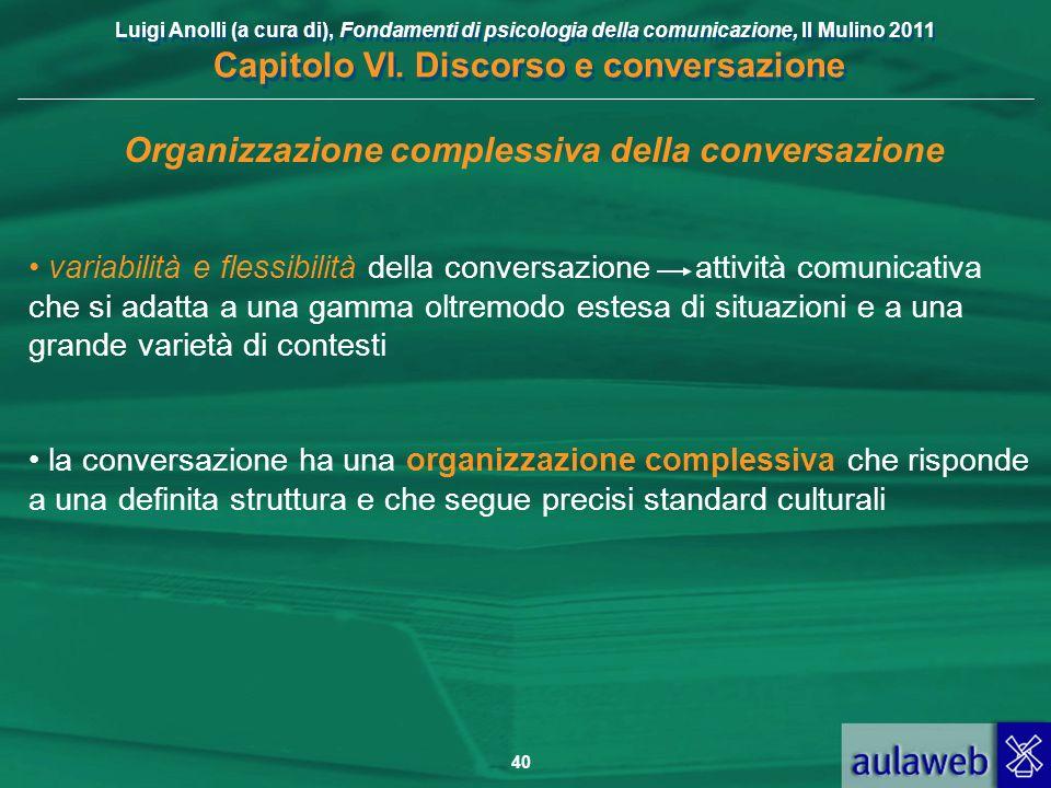 Luigi Anolli (a cura di), Fondamenti di psicologia della comunicazione, Il Mulino 2011 Capitolo VI. Discorso e conversazione 40 Organizzazione comples