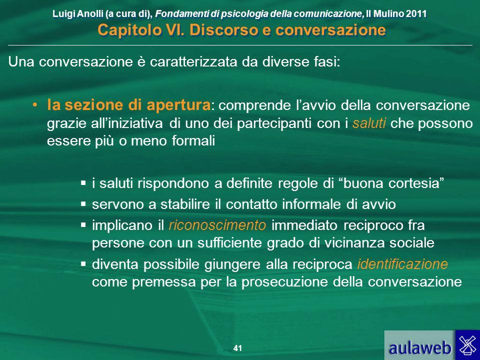 Luigi Anolli (a cura di), Fondamenti di psicologia della comunicazione, Il Mulino 2011 Capitolo VI. Discorso e conversazione 41 Una conversazione è ca