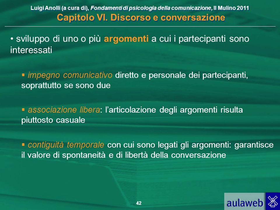 Luigi Anolli (a cura di), Fondamenti di psicologia della comunicazione, Il Mulino 2011 Capitolo VI. Discorso e conversazione 42 sviluppo di uno o più