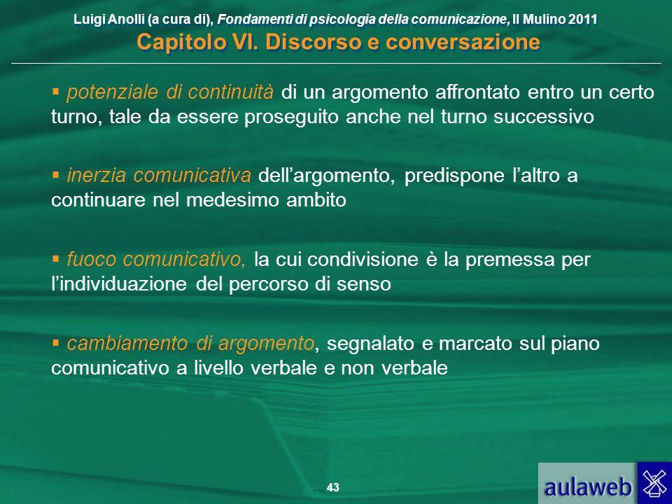 Luigi Anolli (a cura di), Fondamenti di psicologia della comunicazione, Il Mulino 2011 Capitolo VI. Discorso e conversazione 43 potenziale di continui